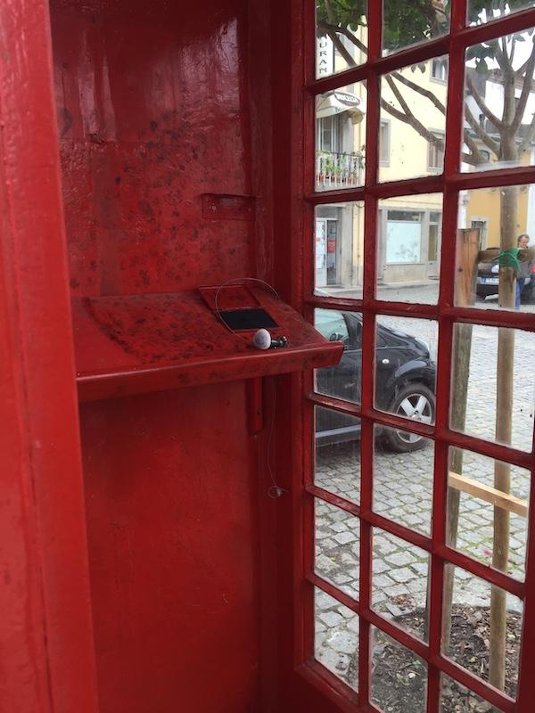 Stempel in Telefonzelle in Fao