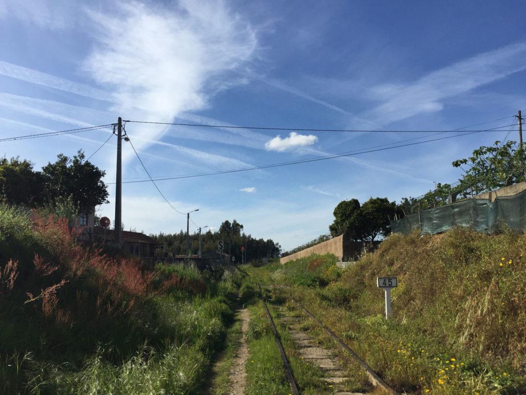 Wandern entlang alter Bahnschienen nördlich von Albergaria a Velha