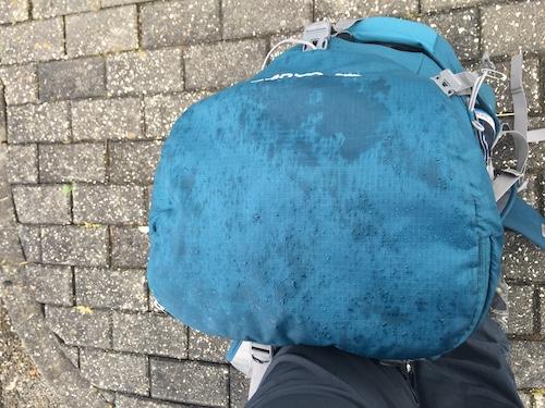 Rucksack vor der Imprägnierung